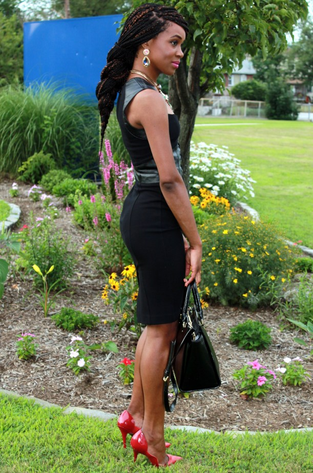 Black dress with leather details + statement necklace (12)