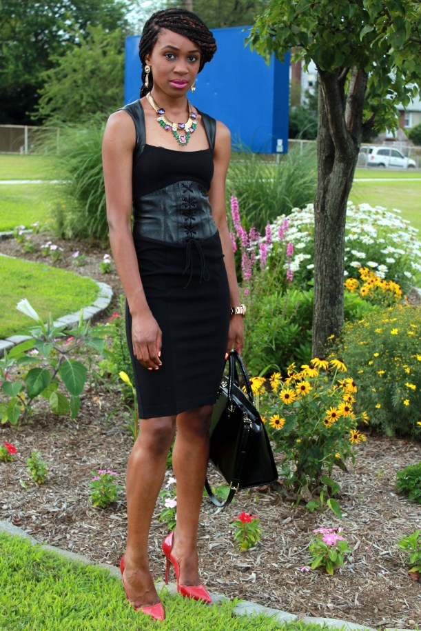 Black dress with leather details + statement necklace (4)