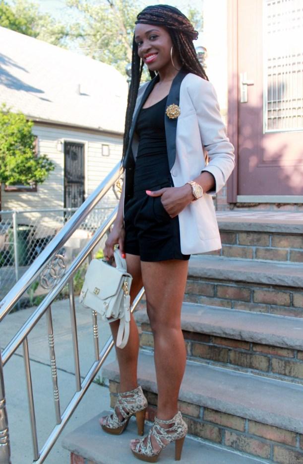 Black JCrew shorts + H&M oversized blazer (2)