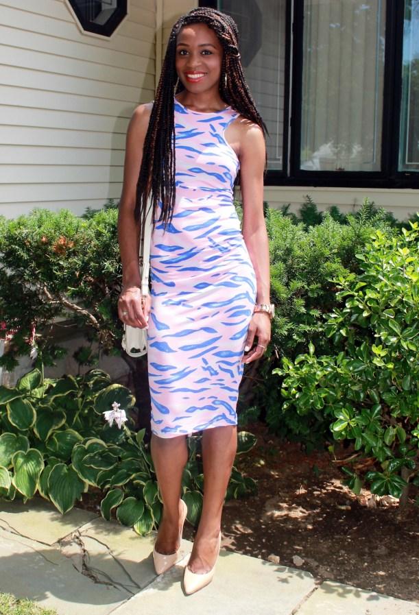 Blue & pink midi print dress