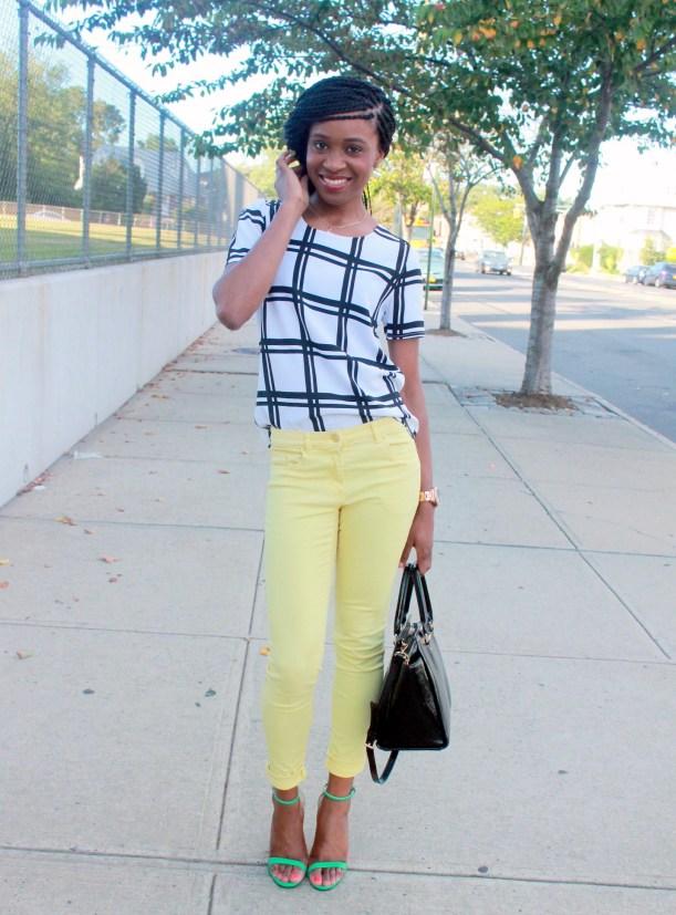 Checked shirt + yellow denim (6)