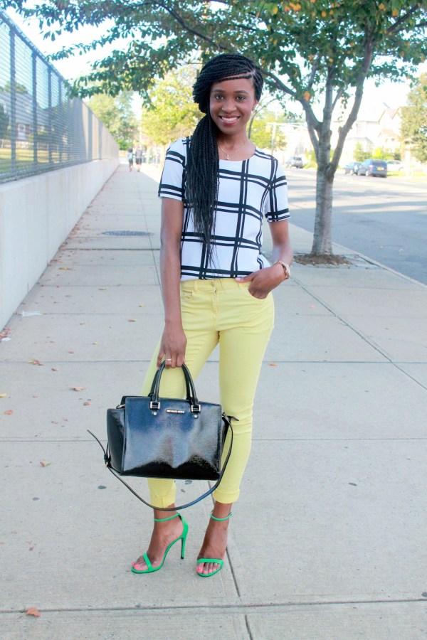 Checked shirt + yellow denim (7)