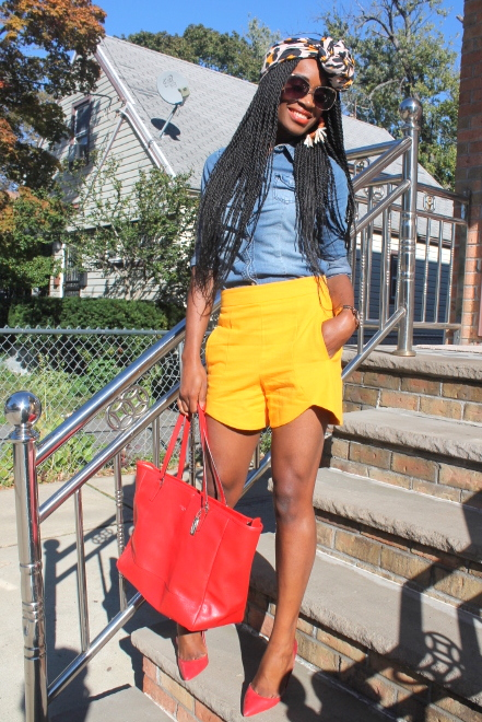 Zara shorts + chambray shirt + headwrap (5)