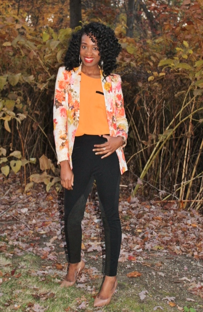 Floral blazer + high waisted trousers (1)