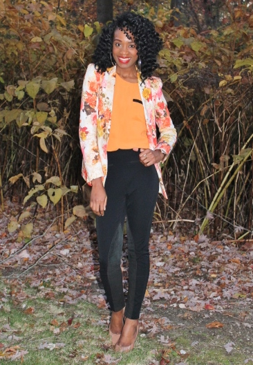 Floral blazer + high waisted trousers (6)