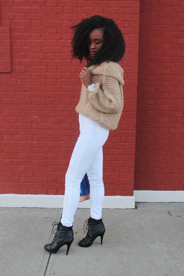 American Apparel high waist white jeans & sheinside sweater (7)