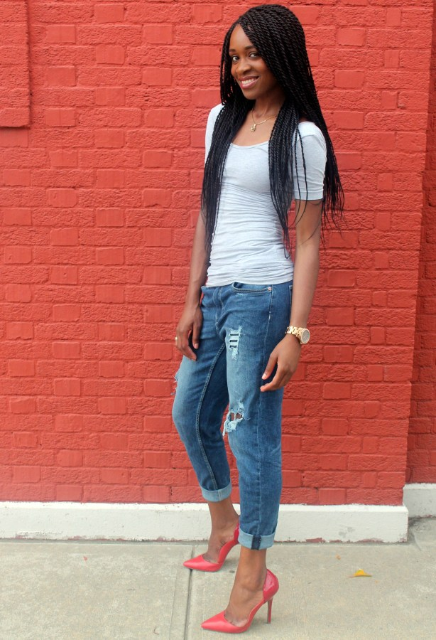Distressed bf jeans  + red heels (3)