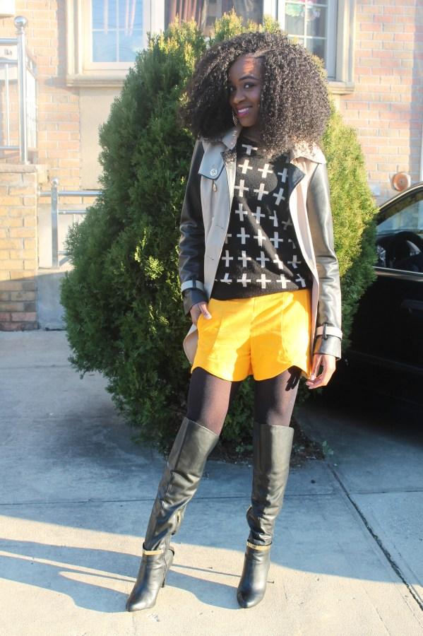 Shorts, sweater, trench coat, otk boots   (2)
