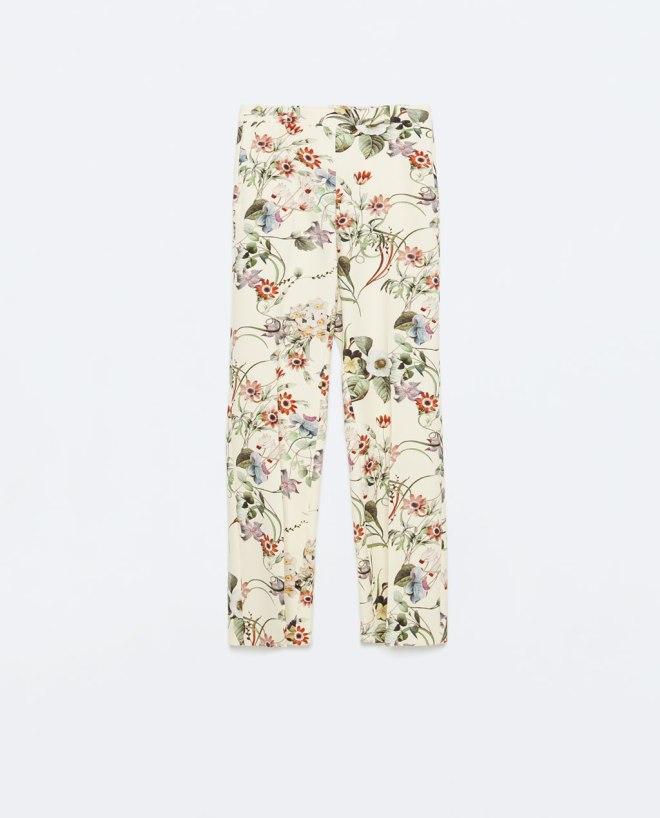 Zara floral wide leg trousers