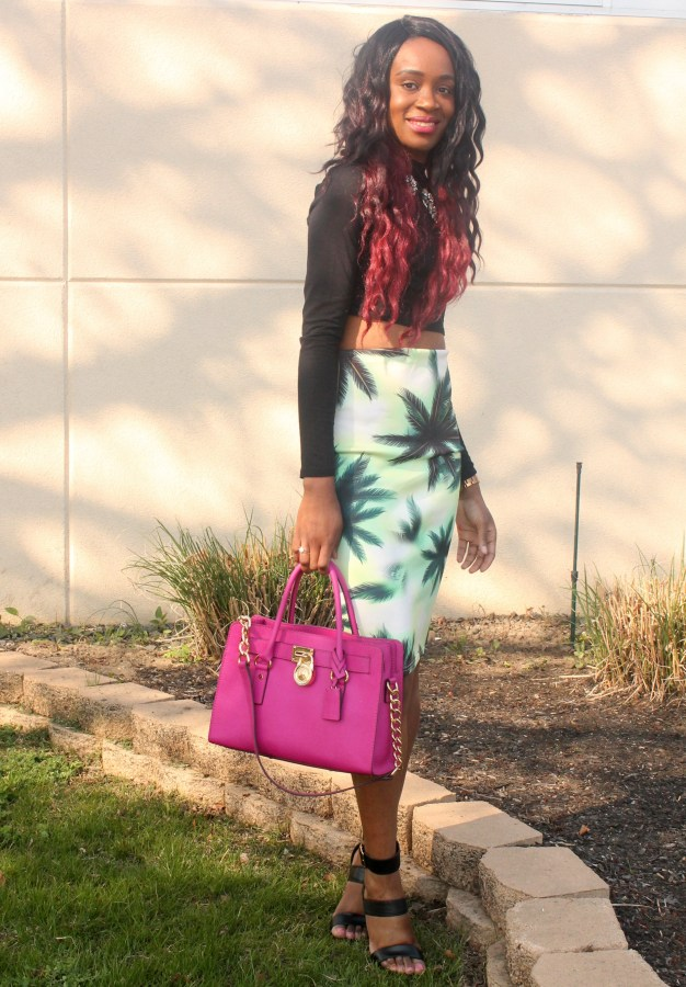 Printed pencil skirt & black high neck crop top (1)