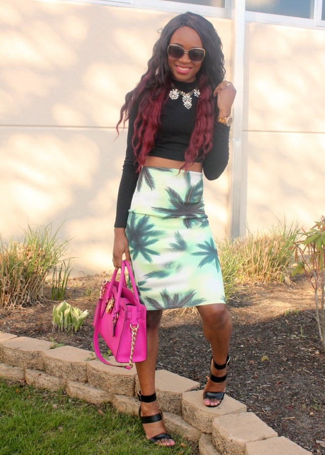 Printed pencil skirt & black high neck crop top (5)