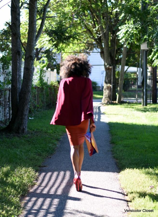 Burnt orange dress & burgundy cape (1)