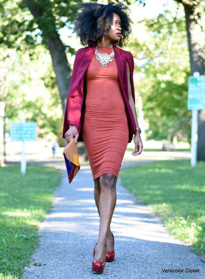 Burnt orange dress & burgundy cape (8)