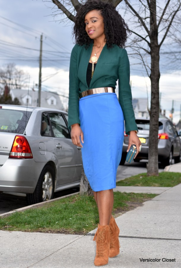 Blue pencil skirt & green blazer (1)
