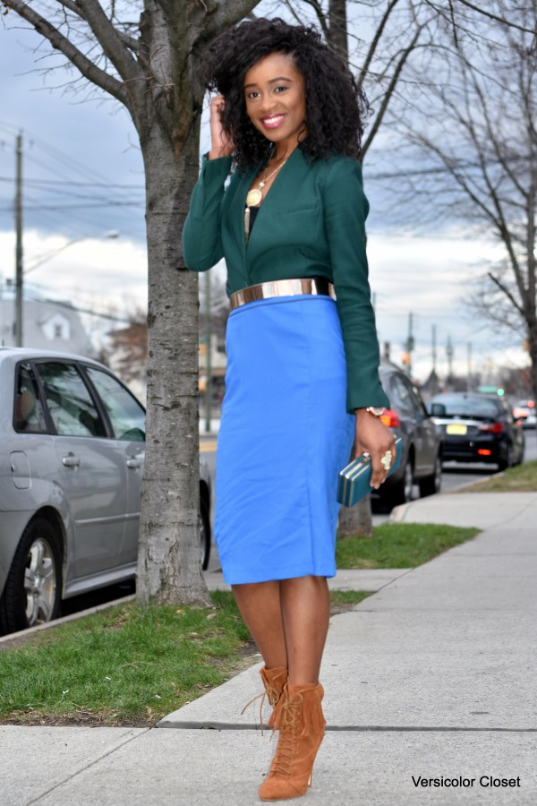 Blue pencil skirt & green blazer (9)
