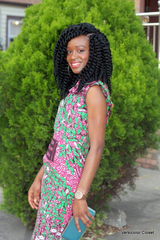 Ankara dress + crochet braids