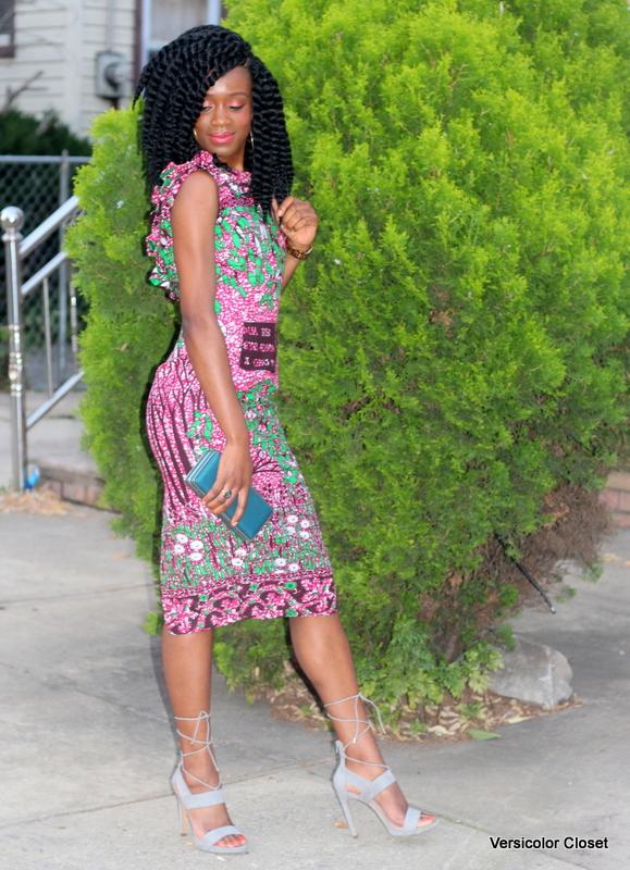 Ankara dress + gray laceup heels (7)