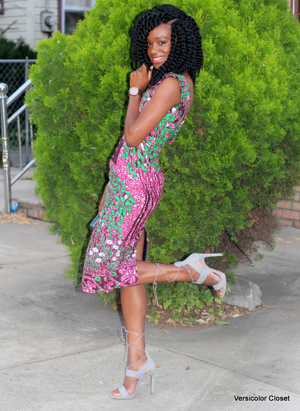 Ankara dress + gray laceup heels (9)