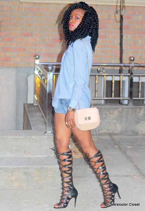 Denim shorts & gladiator heels (4)
