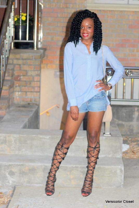 Denim shorts & gladiator heels (6)