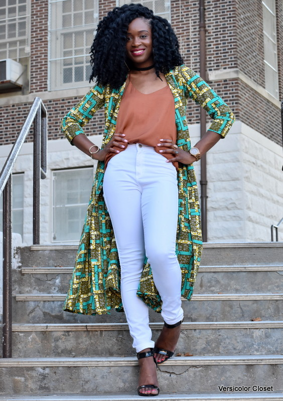 Ankara duster + white skinnies (7)