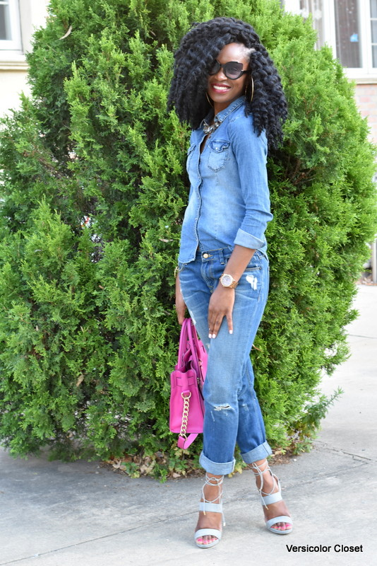 Zara denim & H&M chambray top - canadian tuxedo (13)