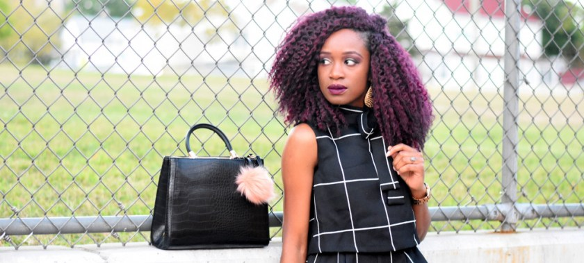 burgundy-crochet-braids-black-handbag-with-pompom