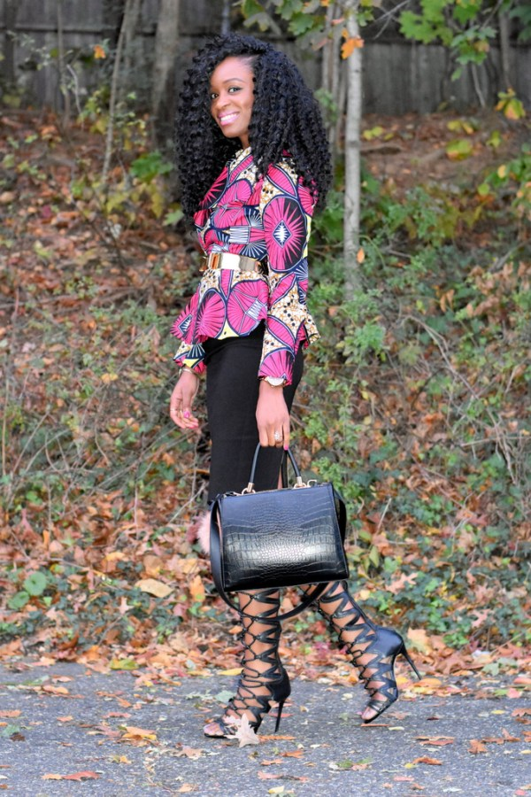 midi-skirt-ankara-jacket-gladiator-heels-1