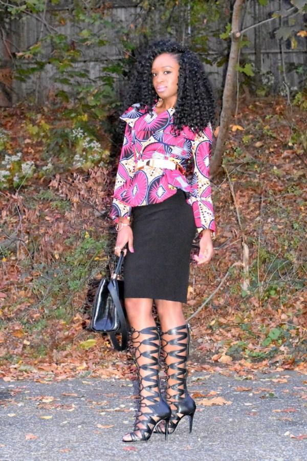 midi-skirt-ankara-jacket-gladiator-heels-10