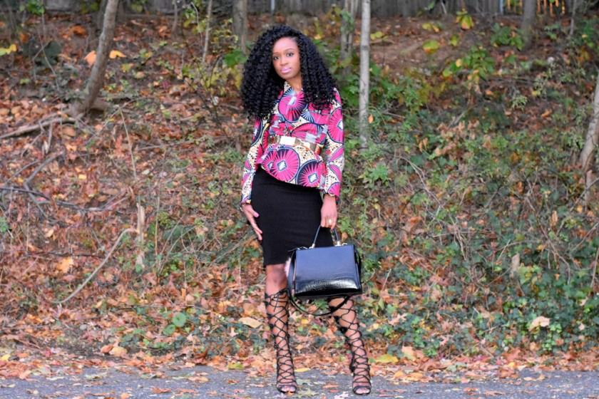midi-skirt-ankara-jacket-gladiator-heels-4