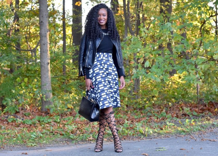 skater-skirt-faux-leather-jacket-gladiator-heels-6