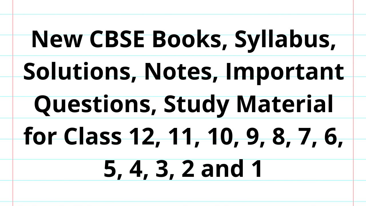 CBSE Books and Syllabus