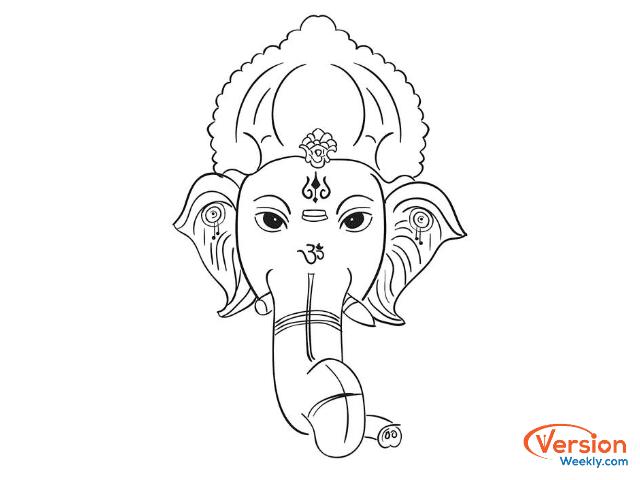 simple drawing of ganesh on ganesh chaturthi
