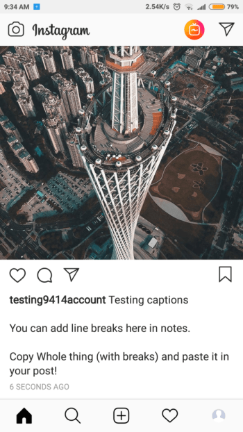 Add line breaks in IG captions using Notes