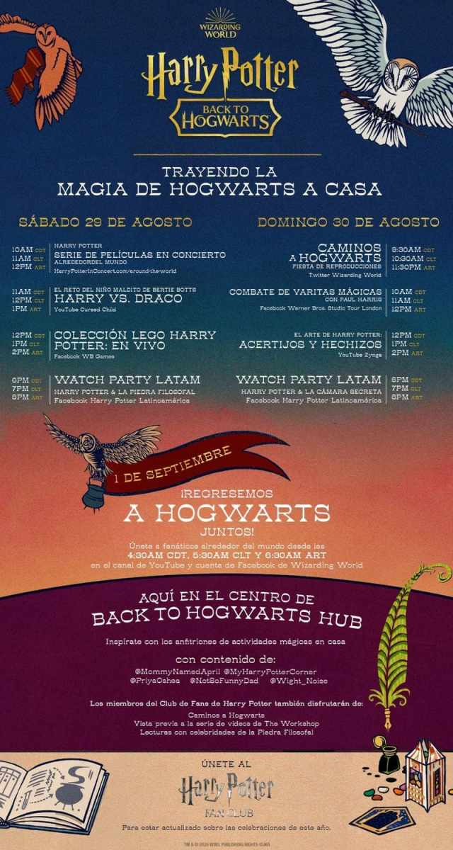 Conoce el calendario de actividades de Back to Hogwarts 2020 - Versus Media  México | Videojuegos, Cine, Tecnología, TV, Cultura.