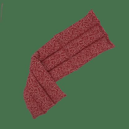 Bouillotte à graines de lin à motif Rouge mini-feuillage dépliée
