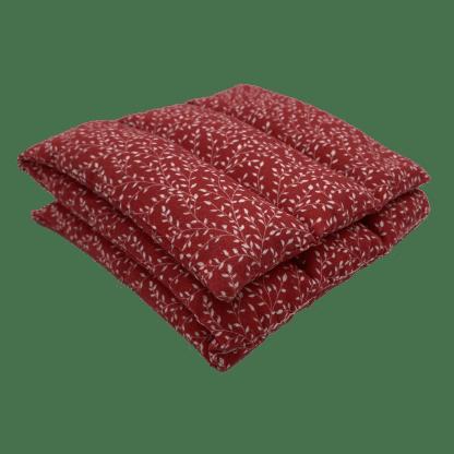 Bouillotte à graines de lin à motif Rouge mini-feuillage