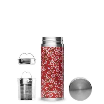 Théière isotherme Flowers rouge 400ml Qwetch détail