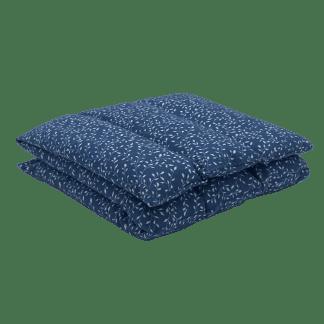 Bouillotte à graines de lin à motif Bleu mini-feuillage