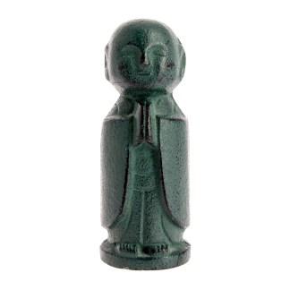 Statuette Jizo le protecteur en fonte bronze vert