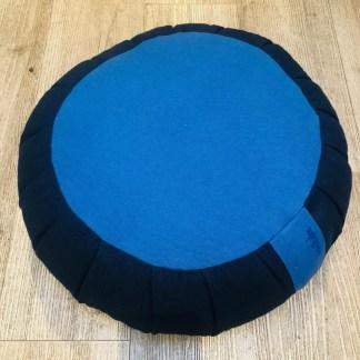Zafu traditionnel en épeautre uni bleu marine et bleu roi