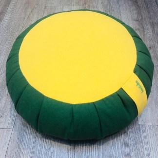 Zafu traditionnel en épeautre uni vert et jaune