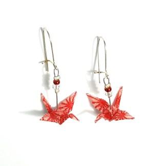 Boucles d'oreilles origami Grues étoilées blanc et rouge Petits plis