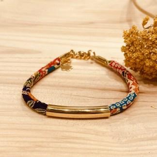 Bracelet japonais en tissu de Kimono N°08 Atelier Vivienne