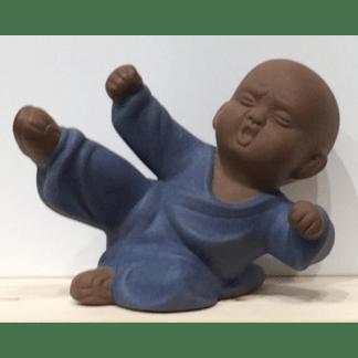 Statuette Moine Shaolin bleu