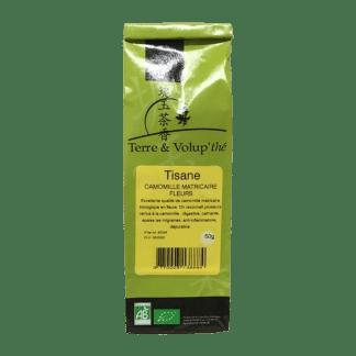 Tisane Camomille matricaire fleurs bio Terre & Volup'thé