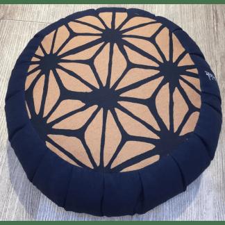 Zafu traditionnel en épeautre bleu foncé avec motif
