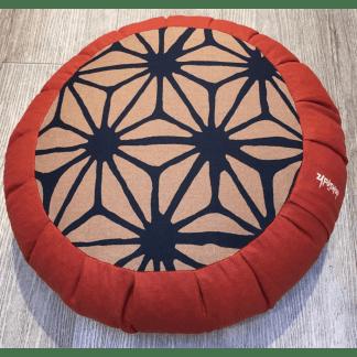 Zafu traditionnel en épeautre brique avec motif