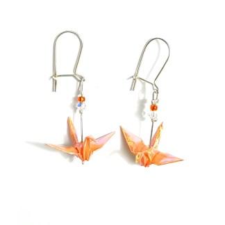 Boucles d'oreilles origami Grues orange Petits plis