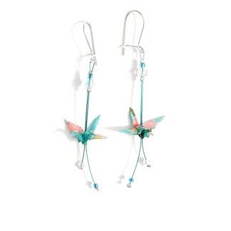 Boucles d'oreilles origami Grues turquoise Petits plis